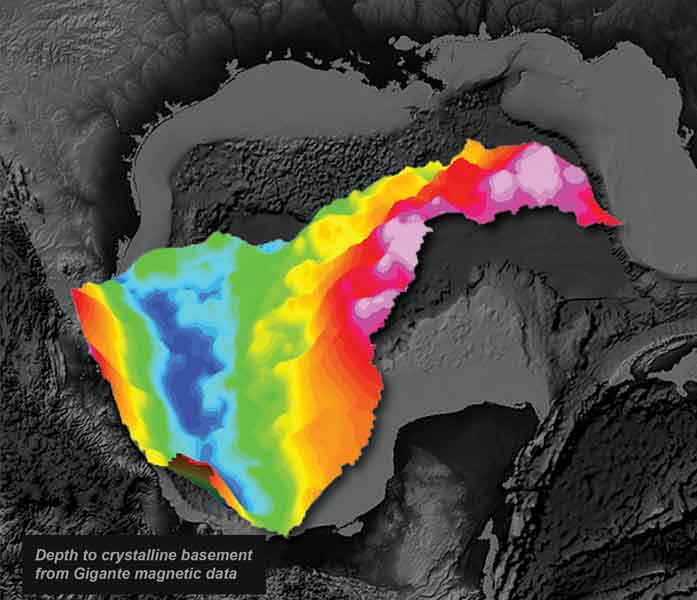 Gulf of Mexico depth to crystalline basement from magnetic data