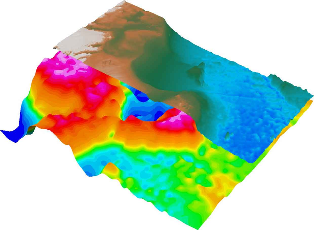 Depth to Magnetic Basement - Orphan Basin, Newfoundland (with bathymetry overlay)