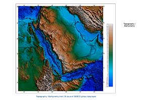 Red Sea bathymetry map